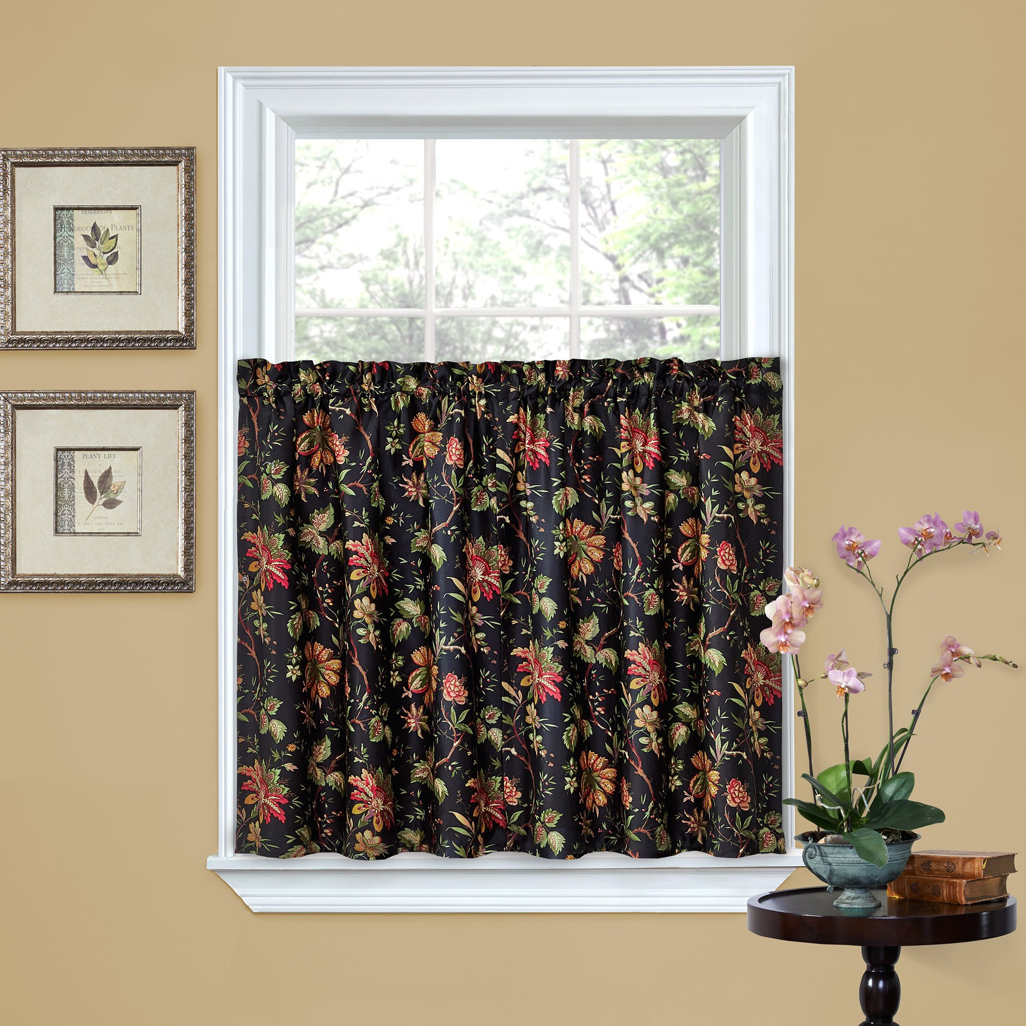 WAVERLY Kitchen Curtains Felicite 52'' x 36'' Small Panel Tiers Privacy Window Treatment Pair Bathroom, Living Room, Noir by WAVERLY