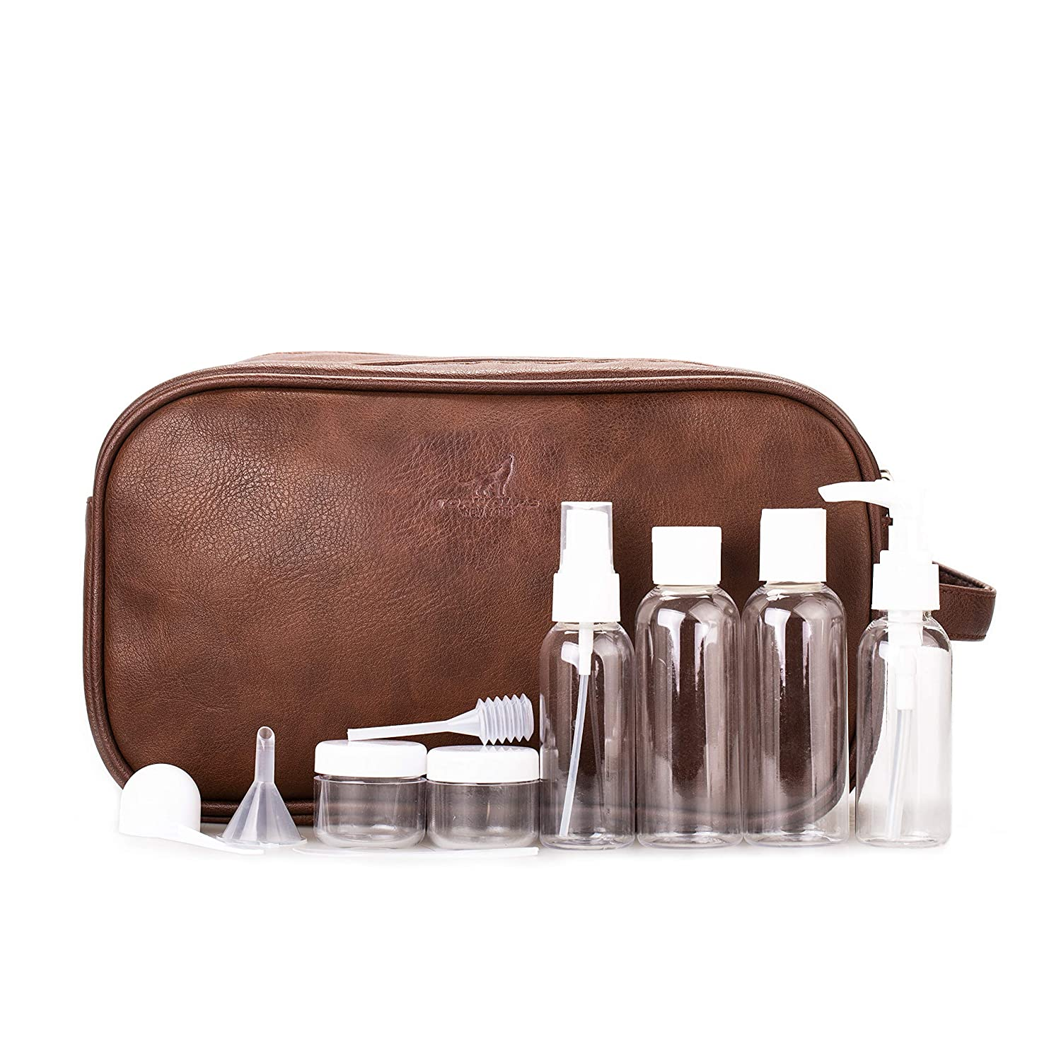 Toiletry Bag for Men TOPWOLF Travel Kit Dual Compartments Travel Overnight Bag Dopp Kit PU Leather with Travel Bottles Gift