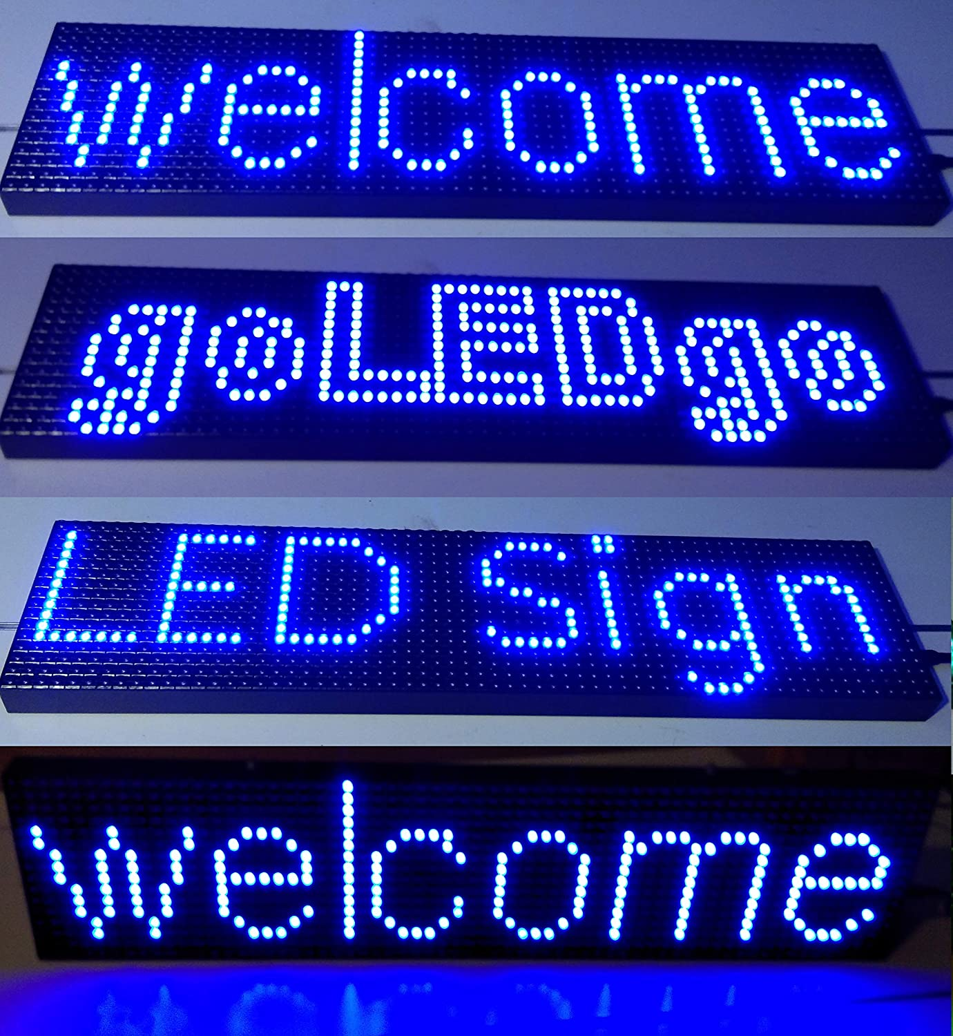 """goLEDgo 6.5"""" x 25.3"""" Blue Programmable Scrolling LED Sign - Self-Outdoor UVproof LED Display Metal Case (6.5""""x25.5""""x1.2"""", Blue)"""