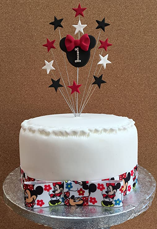 Awesome 1St Birthday Cake Topper Minnie Mouse Ideal For A Small Cake Or Personalised Birthday Cards Veneteletsinfo