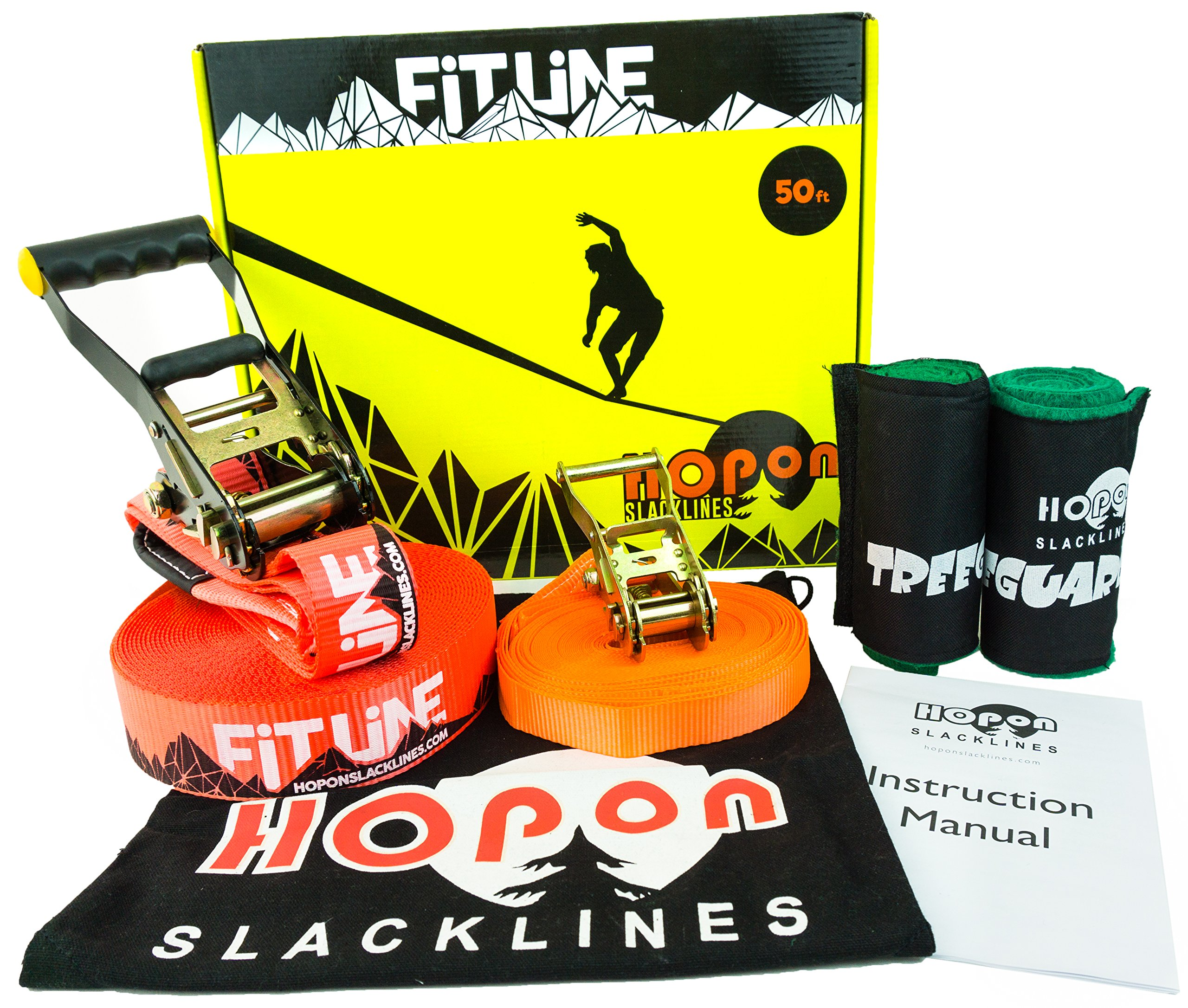 HopOn 50ft Slackline Kit For Beginners with Ratchet, Tree Protection and Training Line - Red by HopOn Slacklines