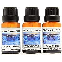 Crazy Candles Volcano (tipo) 3 botellas 1/2 fl oz cada una (0.5 fl oz) Aceite difusor de grado premium