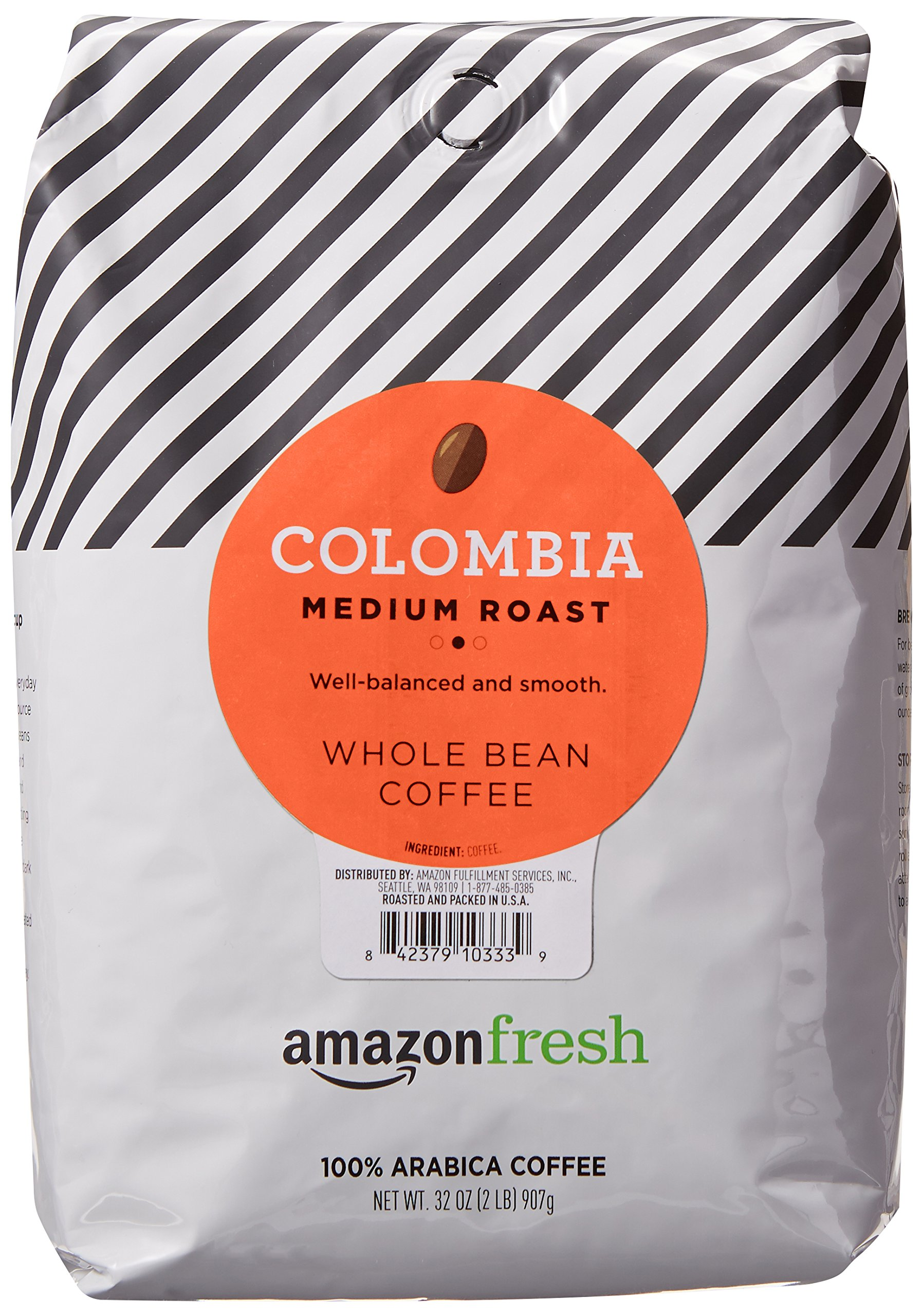 AmazonFresh Colombia Whole Bean Coffee, Medium Roast, 32 Ounce by AmazonFresh
