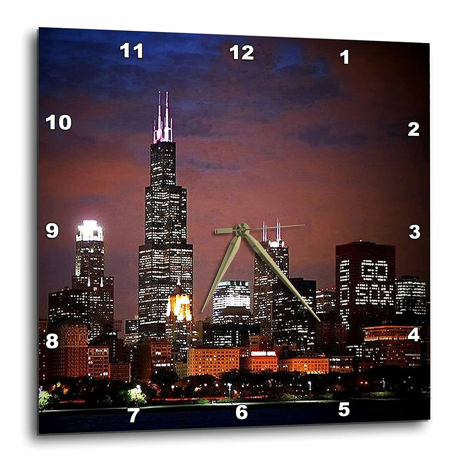 Wall Clock 13 by 13-Inch 3dRose Chicago Skyline at Night DPP/_26369/_2