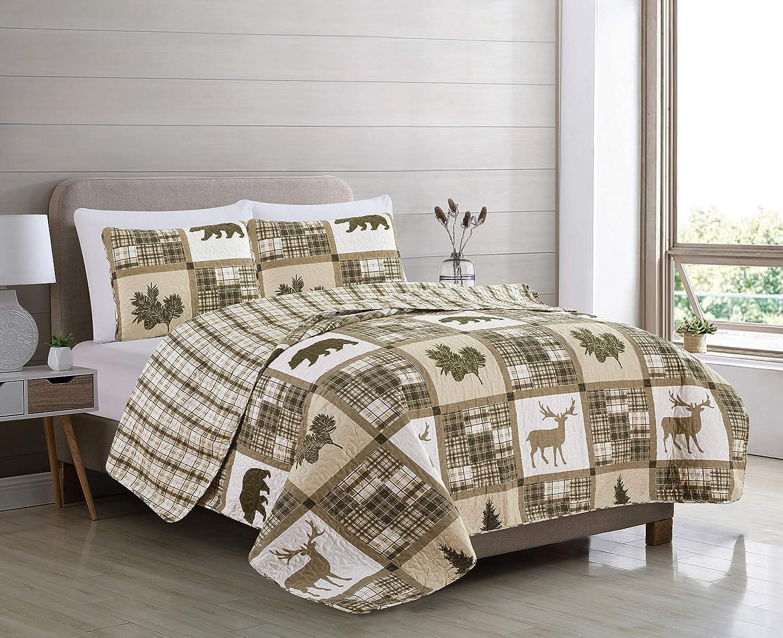 King Quilt Set 3 PC Black /& White Patchwork Bedspread Reversible /& Two Shams