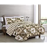 Great Bay Home Lodge Bedspread King Size Quilt with 2 Shams. Cabin 3-Piece Reversible All Season Quilt Set. Rustic Quilt…