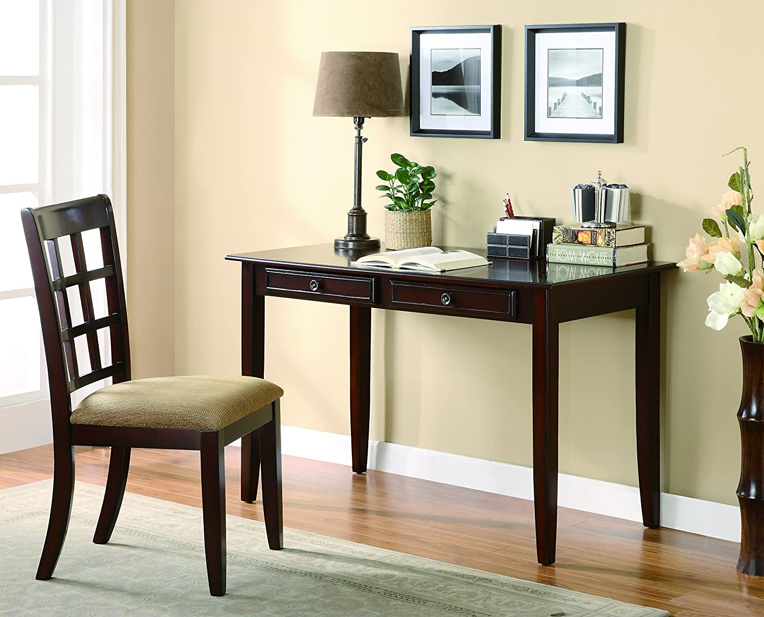 Coaster Home Furnishings -CO 2-Drawer Office Computer Writing Desk and Lattice-Back Chair Set with Fabric Upholstered Seat, Cherry