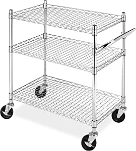 Whitmor Rolling 3-Tier Commercial Cart Chrome
