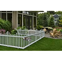 """Zippity Outdoor Products ZP19001 No-Dig Vinyl Picket Unassembled Garden Fence (2 Pack), 30"""" X 56"""" (Each Panel), White"""