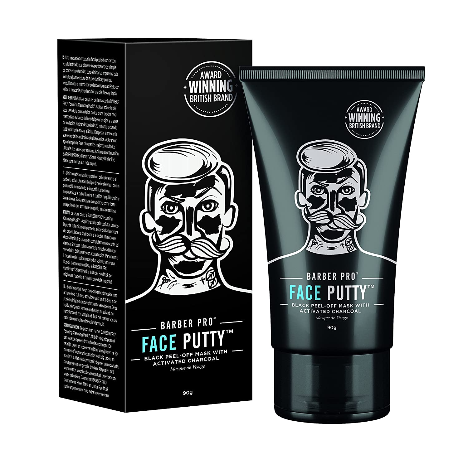 BARBER PRO FACE PUTTY black peel-off mask for men with activated charcoal 90G TUBE BeautyPro Ltd 30087TU