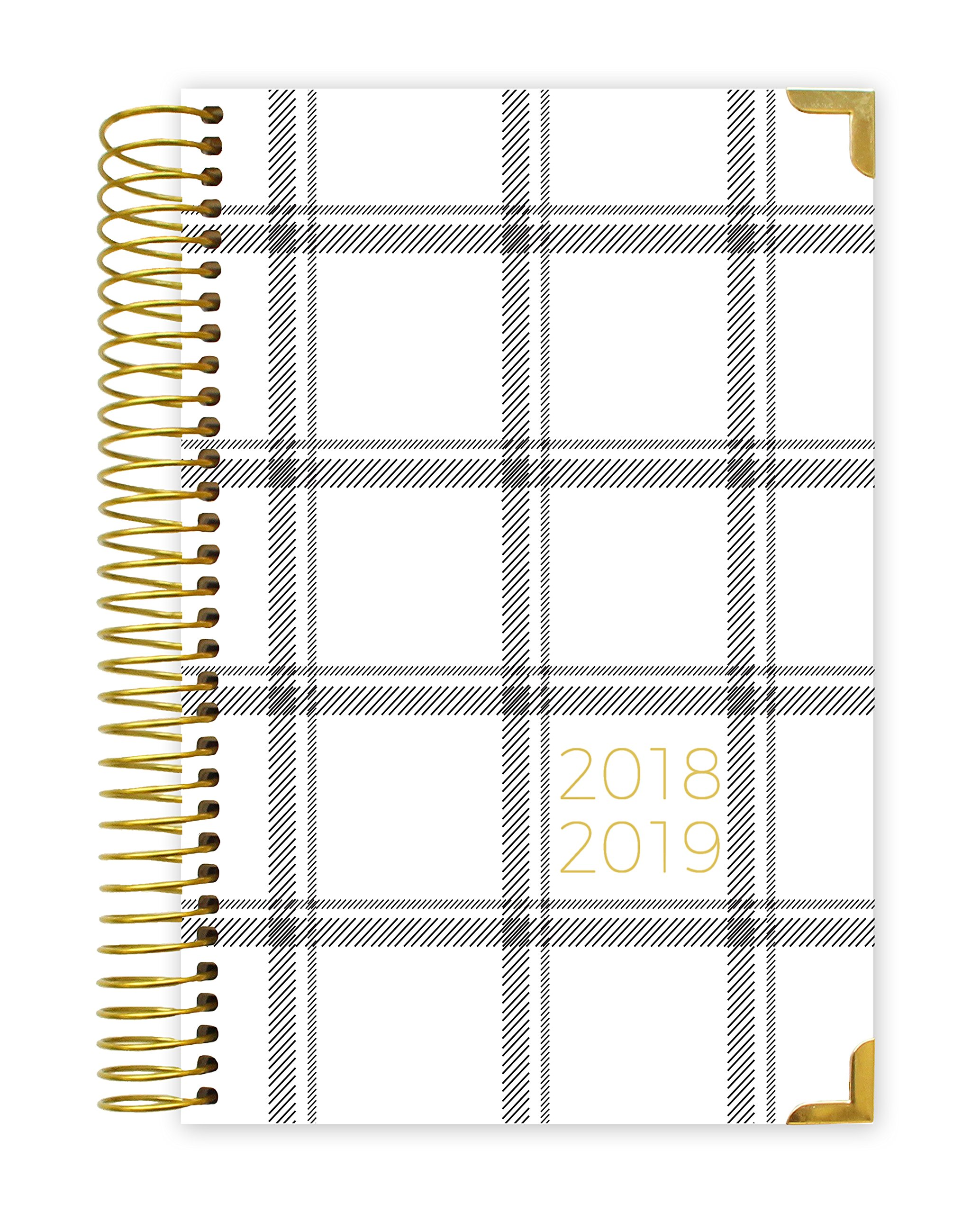 bloom daily planners 2018-2019 Academic Year HARDCOVER Day Planner - Monthly/Weekly Calendar Book - Inspirational Dated Agenda Organizer - (August 2018 - July 2019) - 6'' x 8.25'' - Plaid