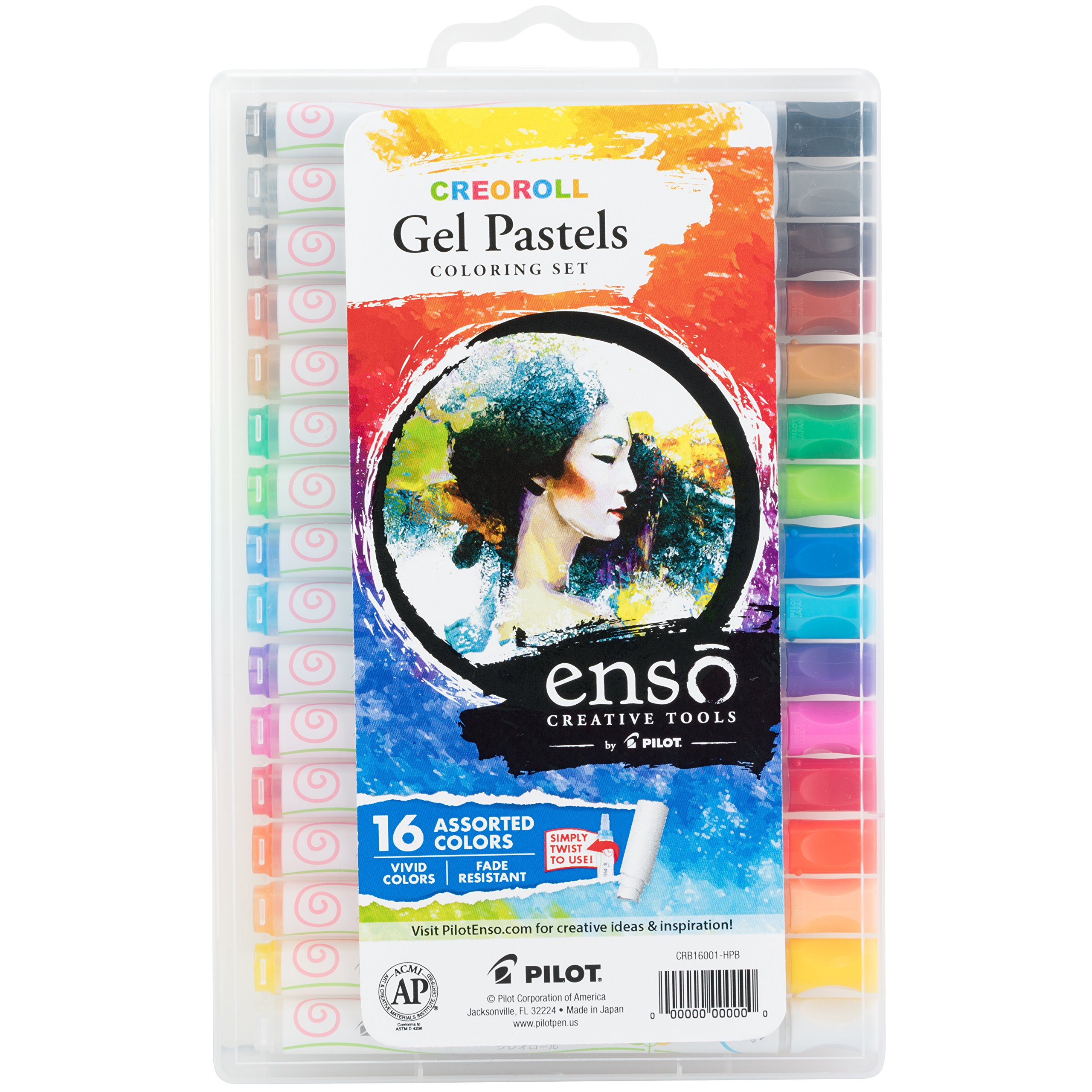 Pilot Enso Creoroll Gel Pastel Set, Assorted Colors, Pack of 16; A New Twist on Pastels for Whatever Expression Your Muse Happens To Inspire (17000)