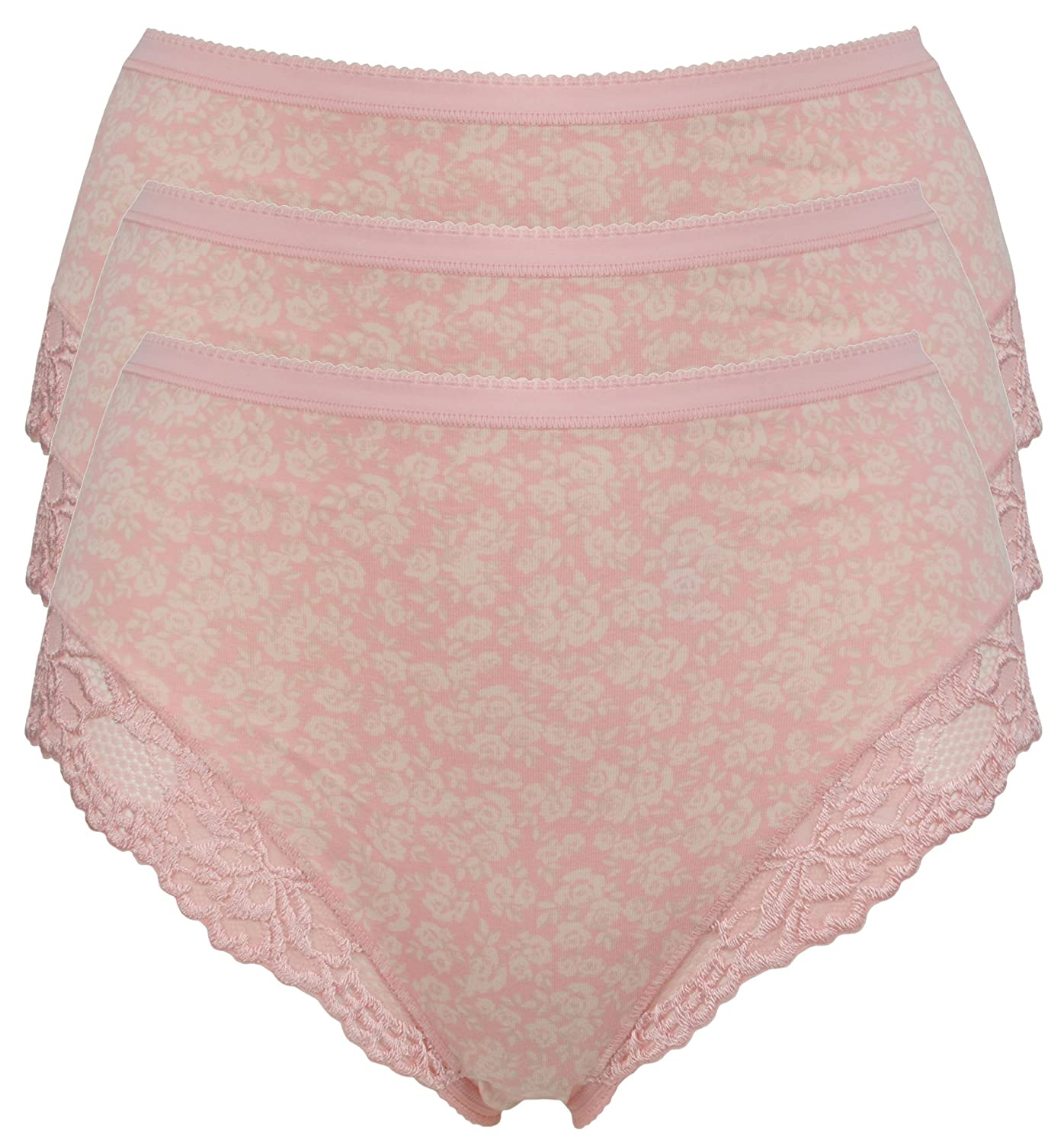 M /& S size 10 cotton rich high leg knickers panties briefs Rose Pink