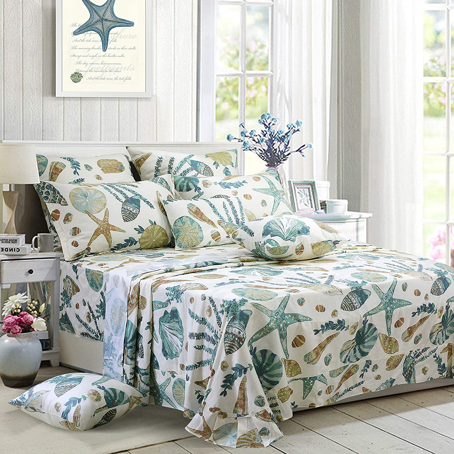 FADFAY Sheet Set Twin XL Beach Themed Bedding Sets 100% Cotton Super Soft Hypoallergenic Coastal Bedding White Teal Nautical Bedding with Deep Pocket Fitted Sheet 4-Pieces Twin Extra Long Size