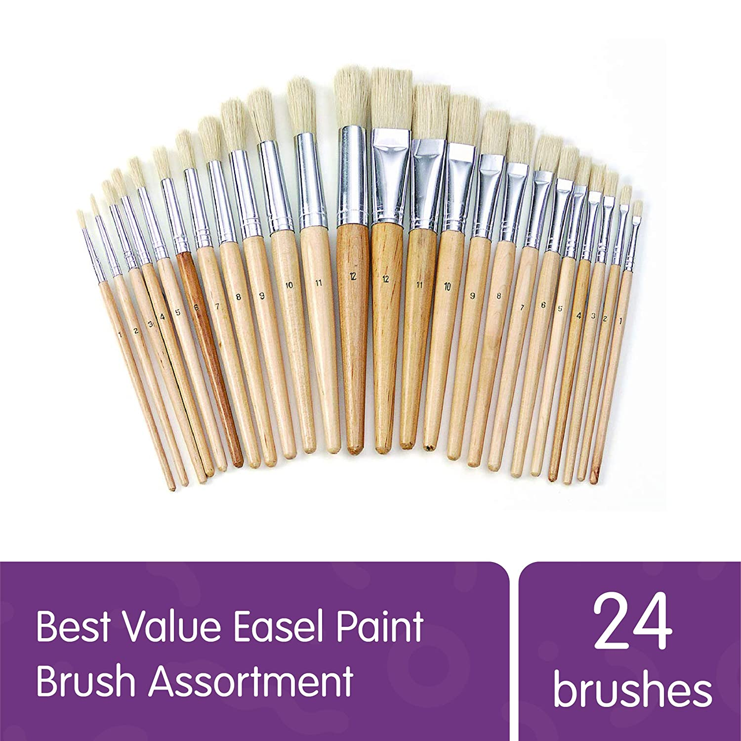 24 Pack Colorations Easel Paint Brushes Assortment Value Pack Classroom Size Art Supplies for Painting Item # FULLSET