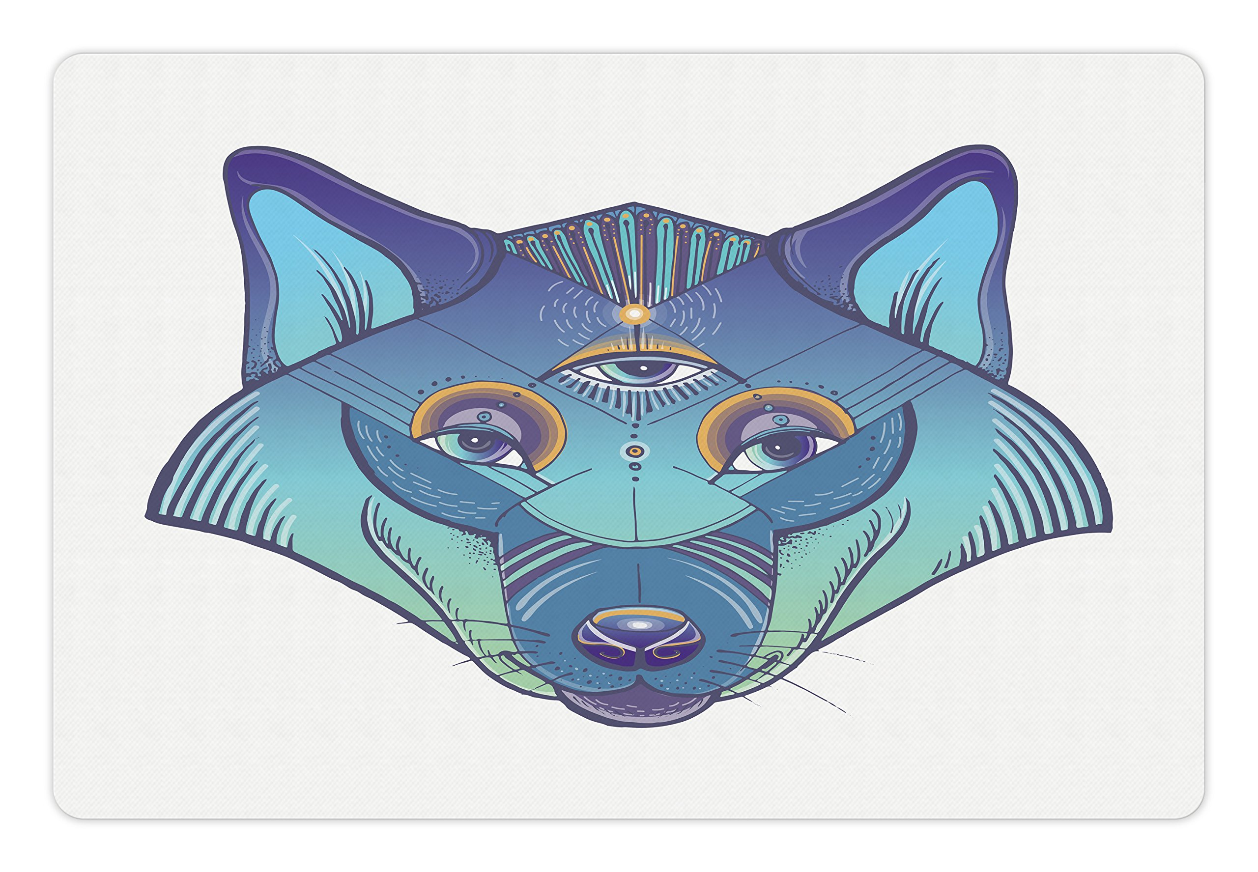 Lunarable Wolf Pet Mat for Food and Water, Artistic Wolf Portrait in Geometric Style Spiritual Animal Fantasy Bohemian Mascot, Rectangle Non-Slip Rubber Mat for Dogs and Cats, Multicolor