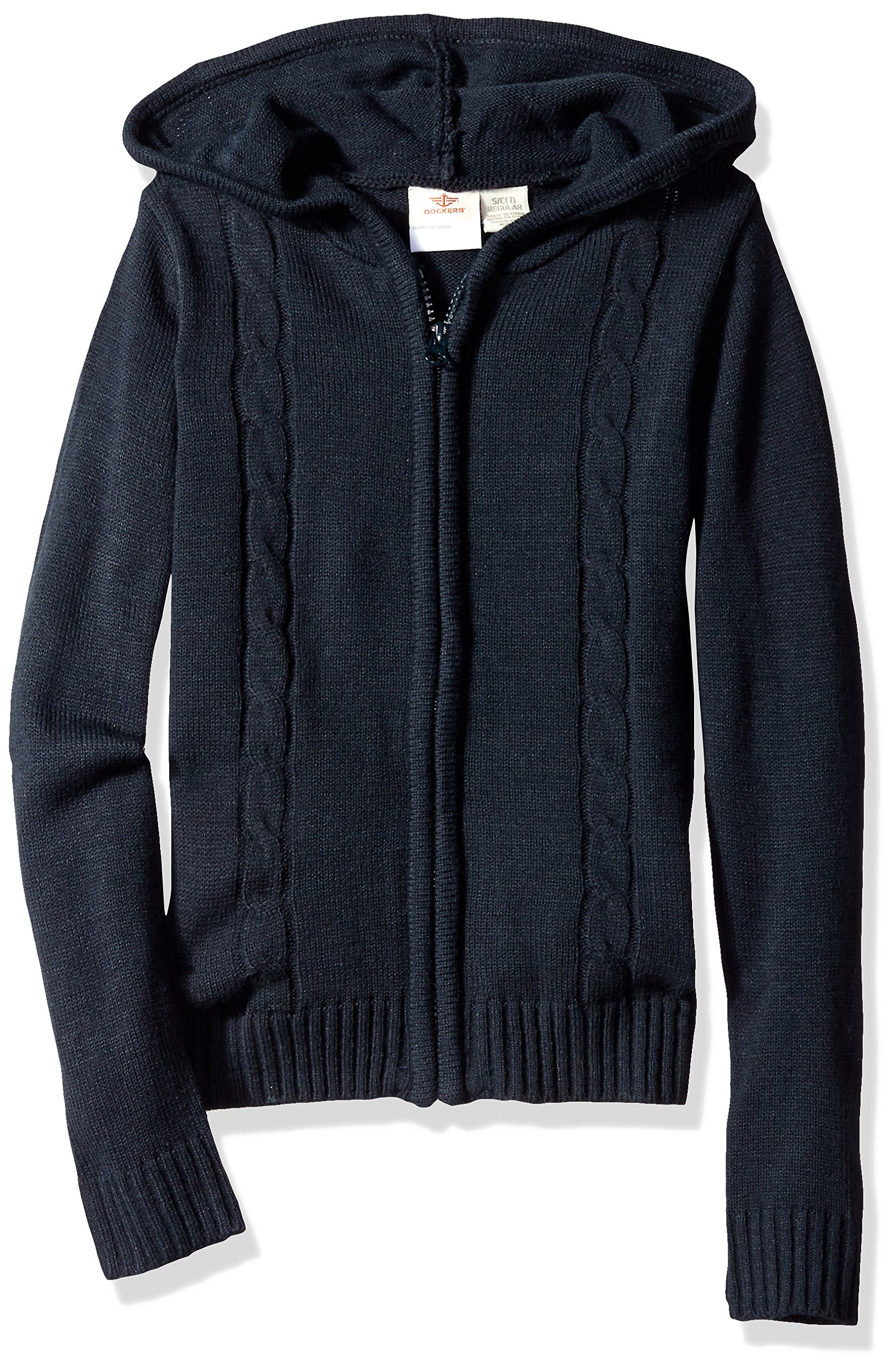 Dockers Big Girls' Hooded Cable Sweater, Navy, Large (12/14)