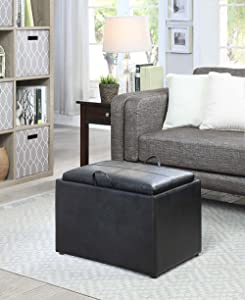 Convenience Concepts 143523BL Designs4Comfort Storage Ottoman, Black