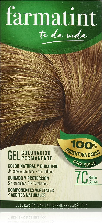 Farmatint Gel 7C Rubio Ceniza | Color natural y duradero | Componentes vegetales y aceites naturales | Sin amoníaco | Sin parabenos | ...