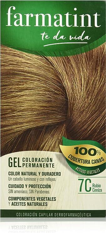 Farmatint Gel 7C Rubio Ceniza   Color natural y duradero   Componentes vegetales y aceites naturales   Sin amoníaco   Sin parabenos   ...