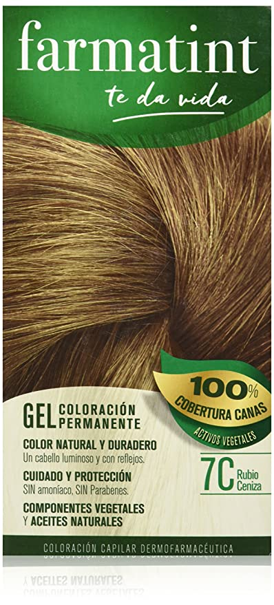 Farmatint Gel 7C Rubio Ceniza. Tinte permanente. Cabello natural y color duradero. Sin