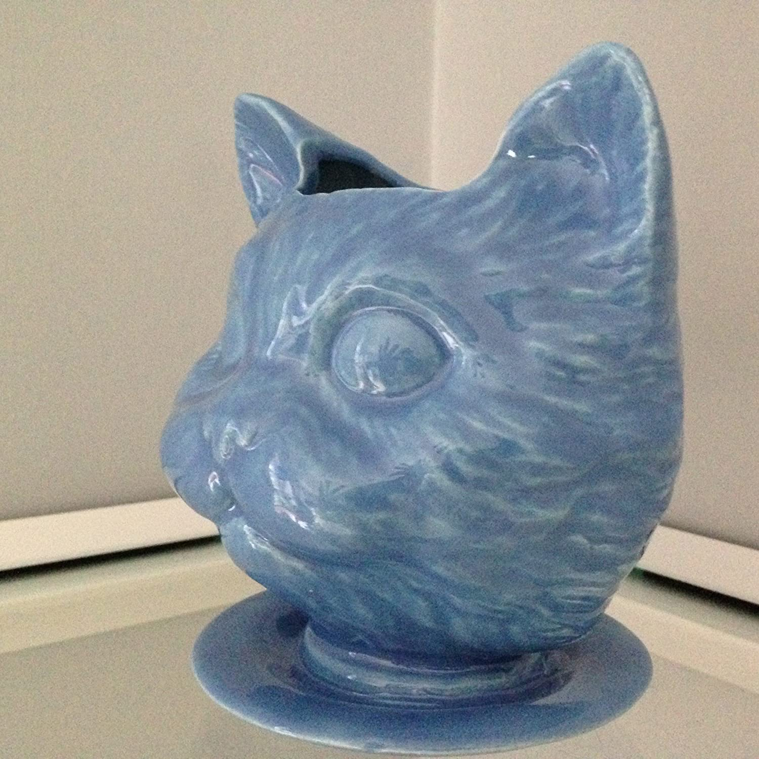 Amazon ceramic cat pot succulent herb planter blue cat doll amazon ceramic cat pot succulent herb planter blue cat doll head ceramic planter on saucer with drain holes handcrafted gift desktop pencil holder reviewsmspy