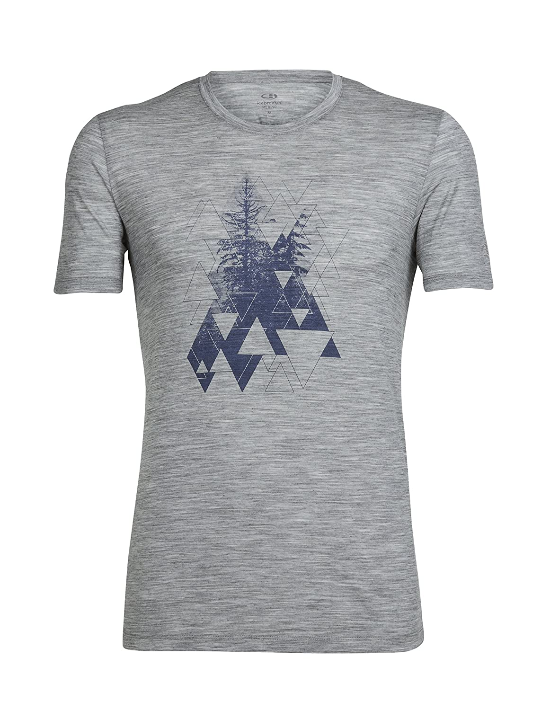 Icebreaker Herren Tech Lite Short Sleeve Crewe EverGrün Geo T-Shirt