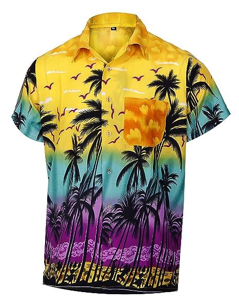 3b26e721c Men's Hawaiian Short Sleeves Shirt Coconut Tree Print Aloha Party Holiday  Shirts, Yellowm, S
