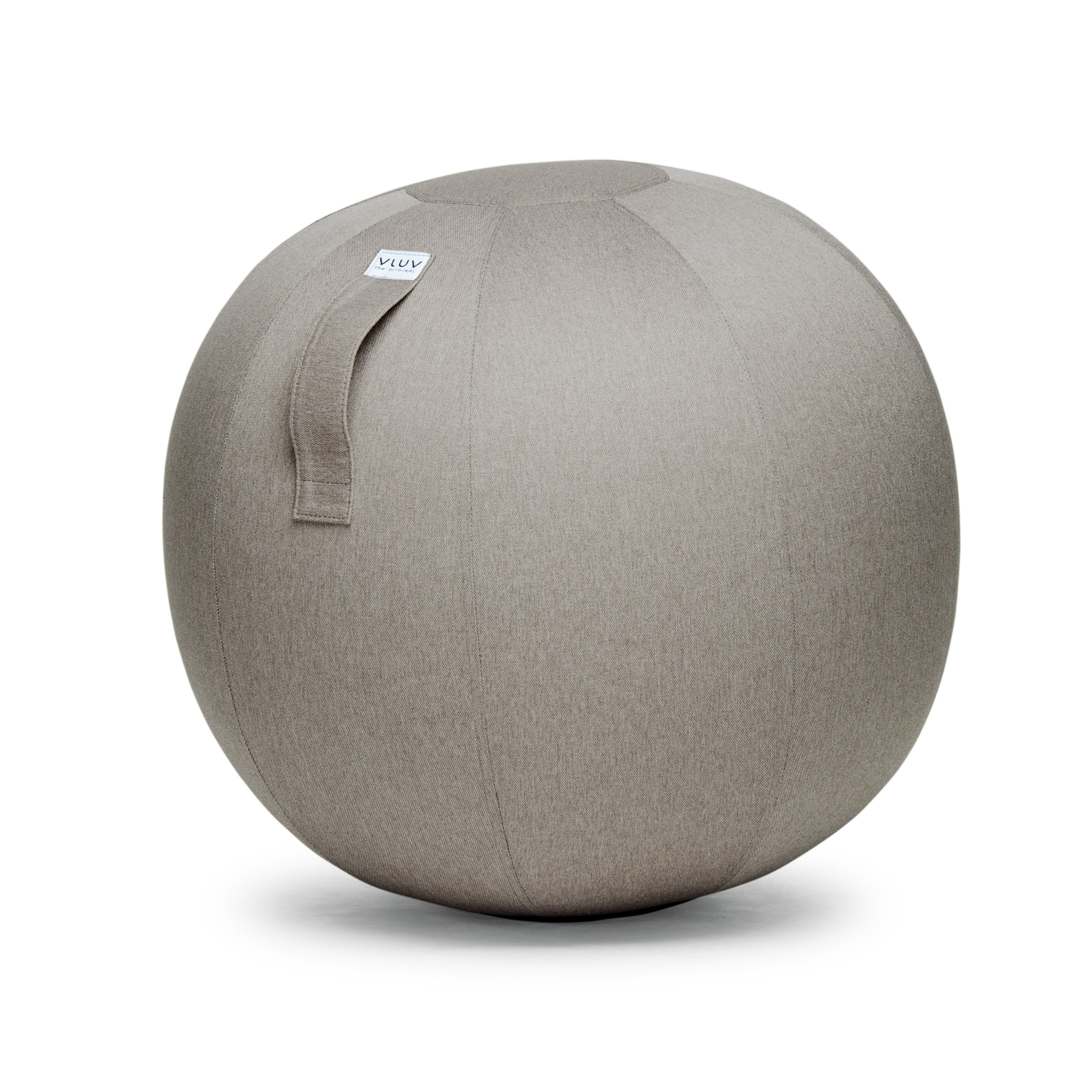 VLUV LEIV 29.5'' Premium Quality Self-Standing Sitting Ball with Handle - Home or Office Chair and Exercise Ball for Yoga, Stretching, or Gym Stone Colored Canvas Fabric (Stone Colored, 25.6'')