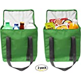 Earthwise Large INSULATED Grocery Bag Shopping Tote Cooler with ZIPPER Top Lid KEEPS FOOD HOT OR COLD (2 Pack)
