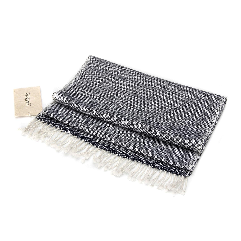 100% Cashmere Scarf with Tassel, Rain-weave Pattern, 26/2 Yarn Composition, Blue © Moksha Cashmere Blue © Moksha Cashmere