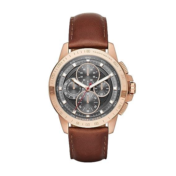 Michael Kors Ryker - Reloj análogico de cuarzo con correa de cuero para hombre, color marrón/gris: Amazon.es: Relojes
