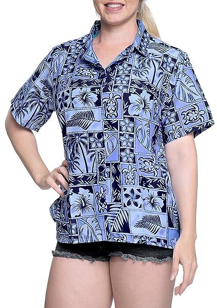 Botón Hawaiano Camisa de la Playa Blusas Mujeres con Cuello hacia Abajo Mangas Cortas Campo Azul: Amazon.es: Ropa y accesorios