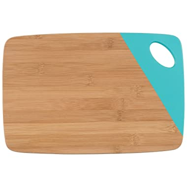 Now Designs Bamboo Cutting Board with Dipped Accent, Turquoise