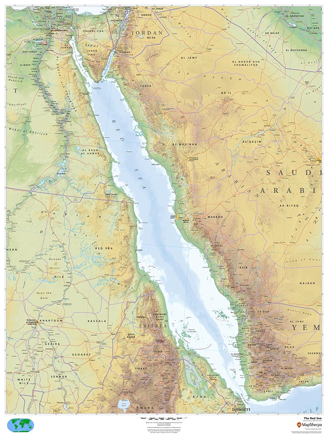 "Amazon The Red Sea 36"" x 48"" Paper Wall Map fice Products"