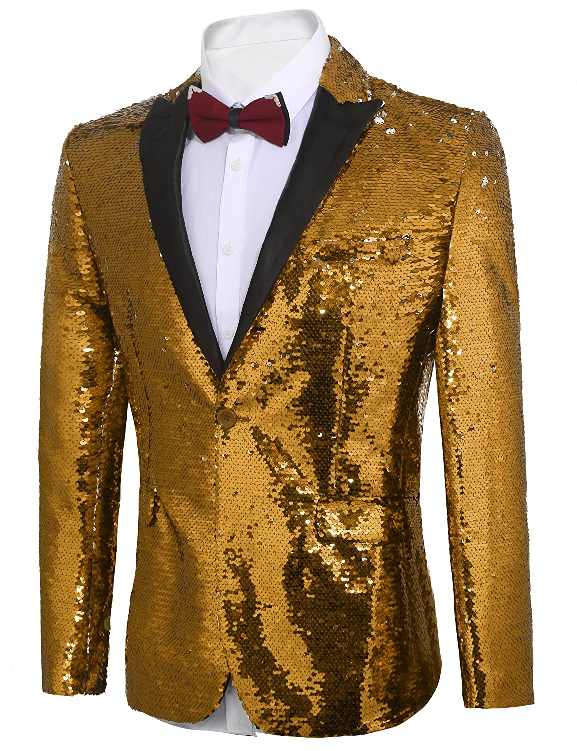 72fdeff9 COOFANDY Men's Shiny Sequins Suit Jacket Blazer One Button Tuxedo for  Party, Wedding, Banquet, Prom at Amazon Men's Clothing store: