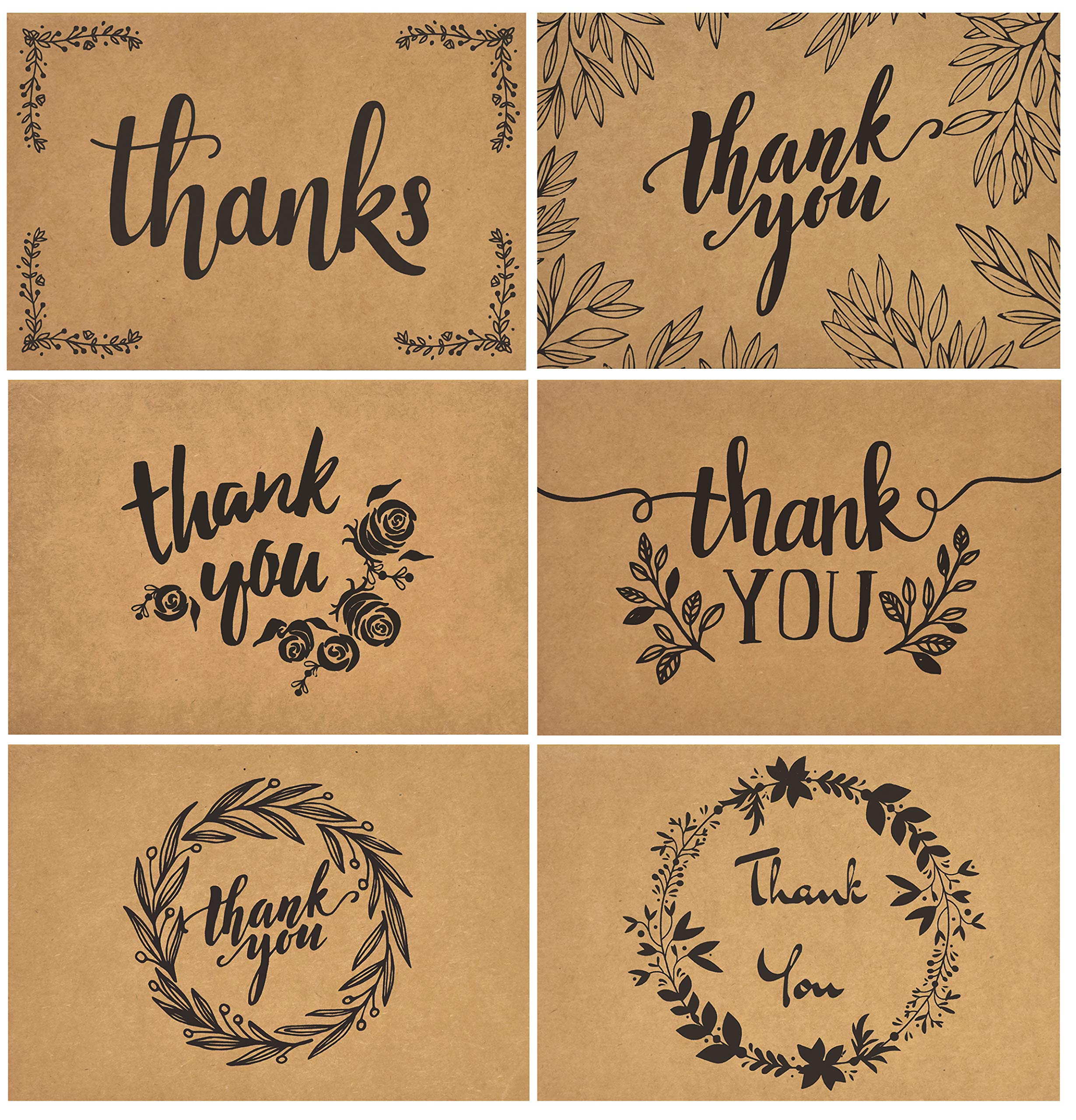 120 Elegant Kraft Paper Thank You Cards with Kraft Envelopes and Stickers - 6 Designs Bulk Notes with Black Letters for Weddings, Business, Formal, 4x6