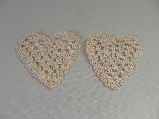 Amazon crocheted heart applique ornament small coaster