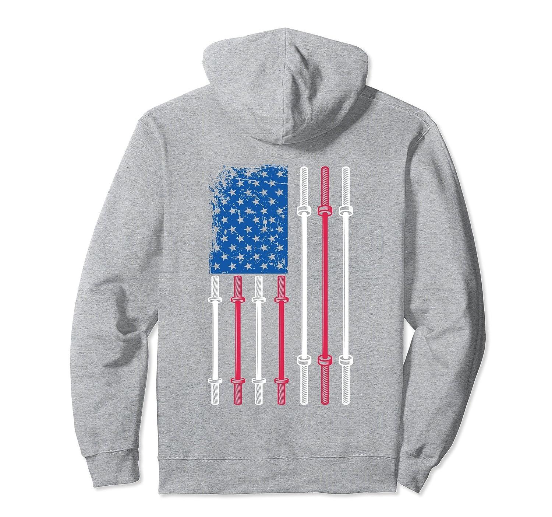 US Flag Weightlifting Hoodie American Patriotic Back Design- TPT