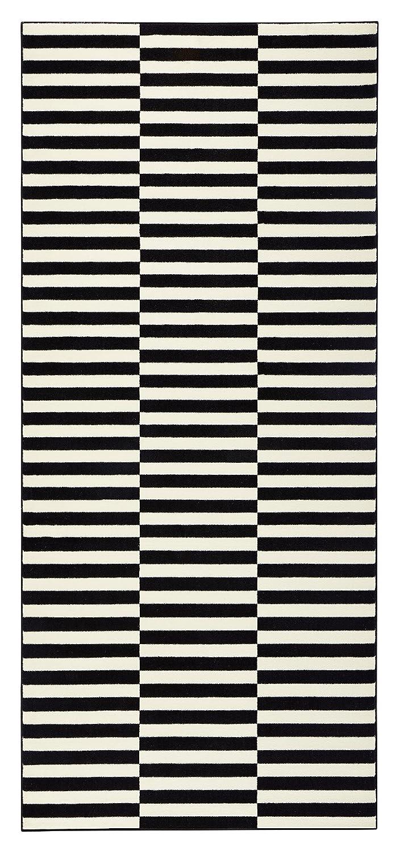 HANSE Home Design Velours Teppich Kurzflor Panel, Polypropylen, Schwarz Creme, 160 x 230 x 0.9 cm