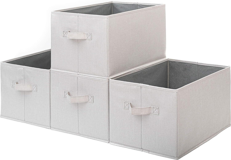 Pomatree Storage Baskets - 4 Pack - Sturdy Large Fabric Bins   Foldable Organizing Basket Bin for Home, Nursery, Closet & Shelves Organization   Storage Basket Cube Shelf Organizer (White/Ivory)