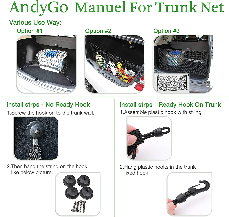 AndyGo Rear Cargo Trunk Storage Organizer Net for Car Plus mounting Points