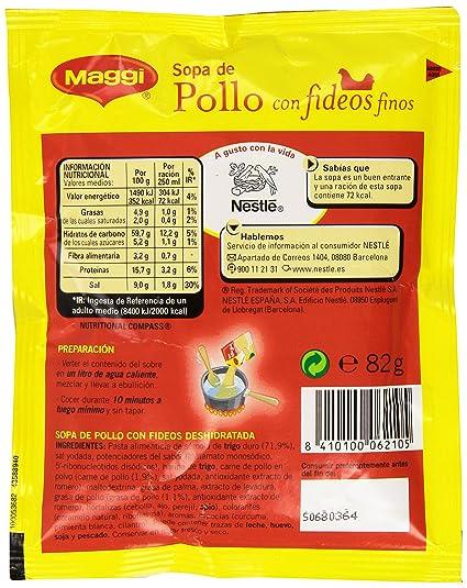 Maggi Sopa de Pollo con Fideos Finos - Sopa Deshidratada - Sobre de sopa deshidratada 82g (4 raciones): Amazon.es: Amazon Pantry