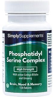 Fosfaditil Serina - 120 cápsulas - 2 meses de suministro - Con Ginkgo Biloba y Ginseng