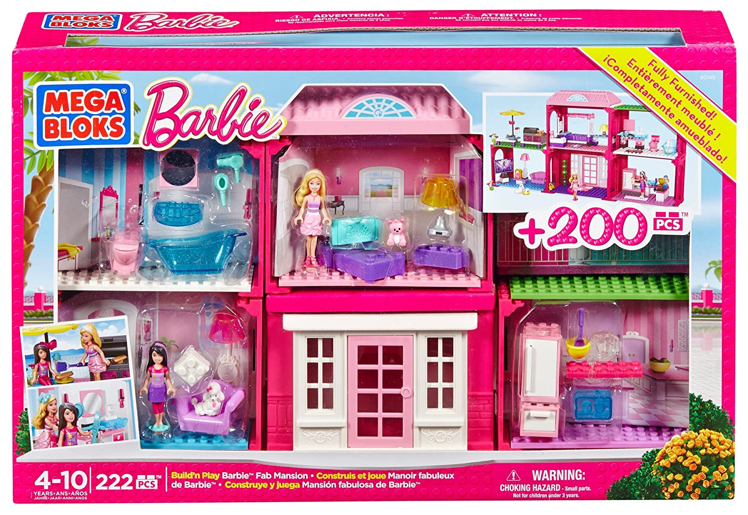 Amazon.com: Mega Bloks Barbie Fab Mansion: Toys & Games