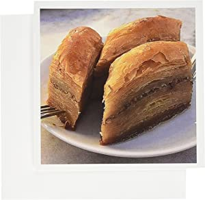 3dRose Baklava - baklava, food, forks, kitchen, nuts, pastry, plate - Greeting Cards, 6 x 6 inches, set of 12 (gc_46791_2)