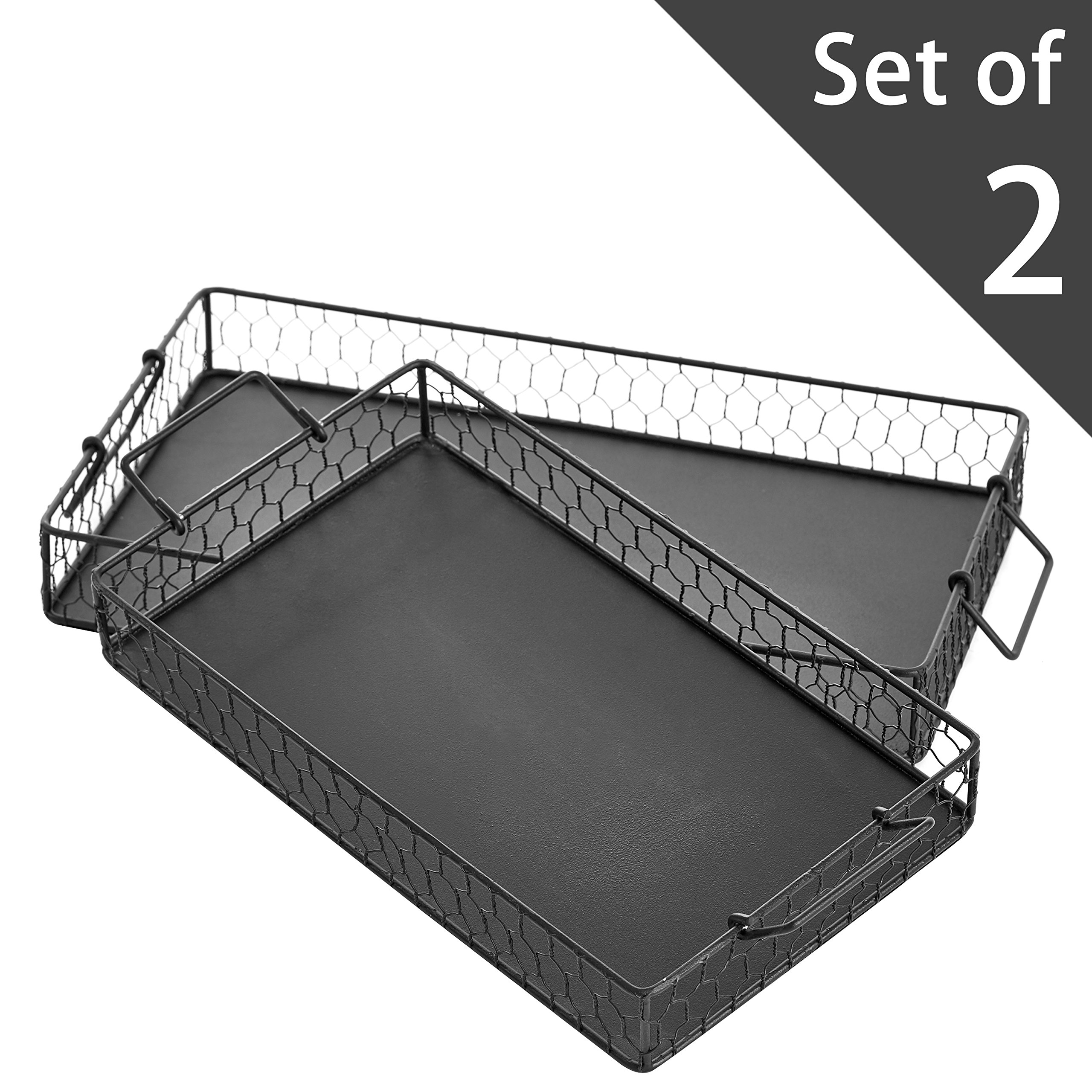 MyGift Set of 2 Chicken Wire Country Design Black Metal Mesh Rectangular Decorative Trays with Handles