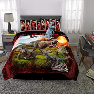 Franco Kids Bedding Super Soft Comforter with Sheets and Plush Cuddle Pillow Set, 6 Piece Full Size, Jurassic World