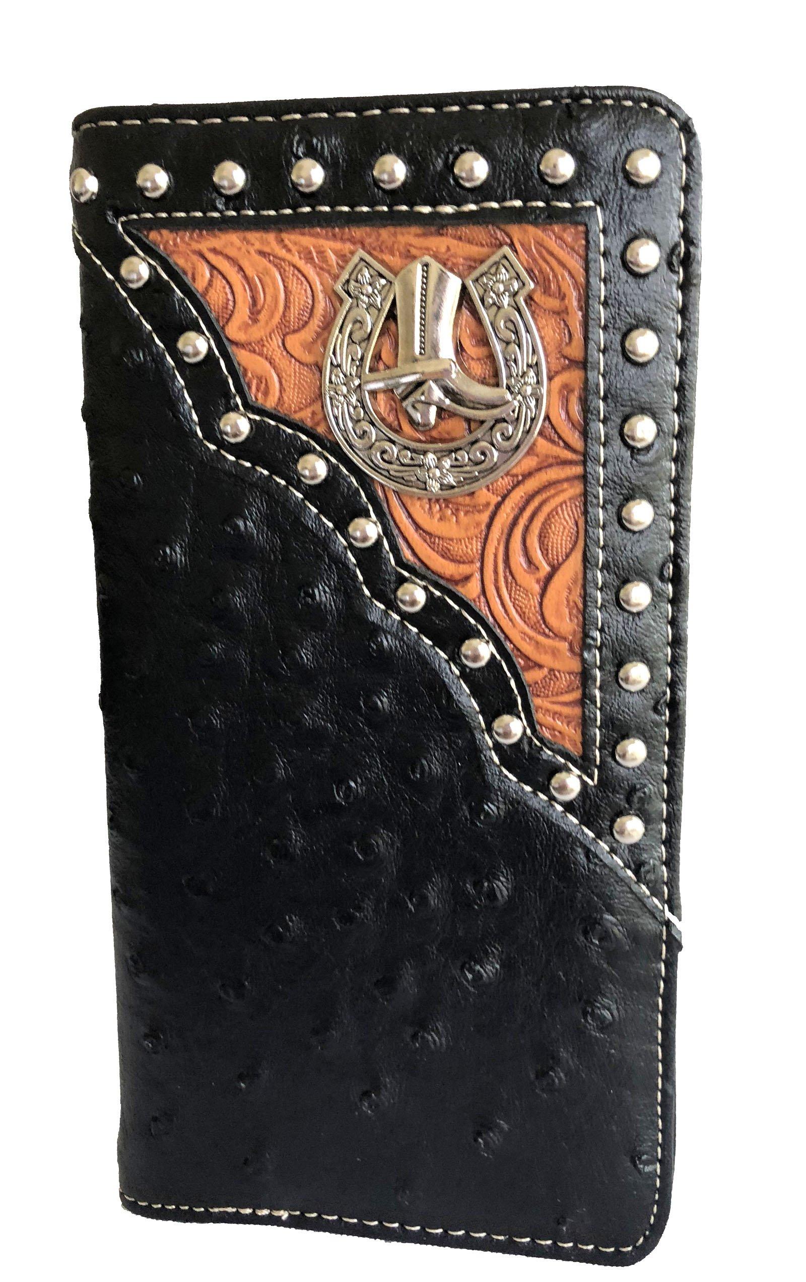 men black animal boot concho metal long bifold wallet western