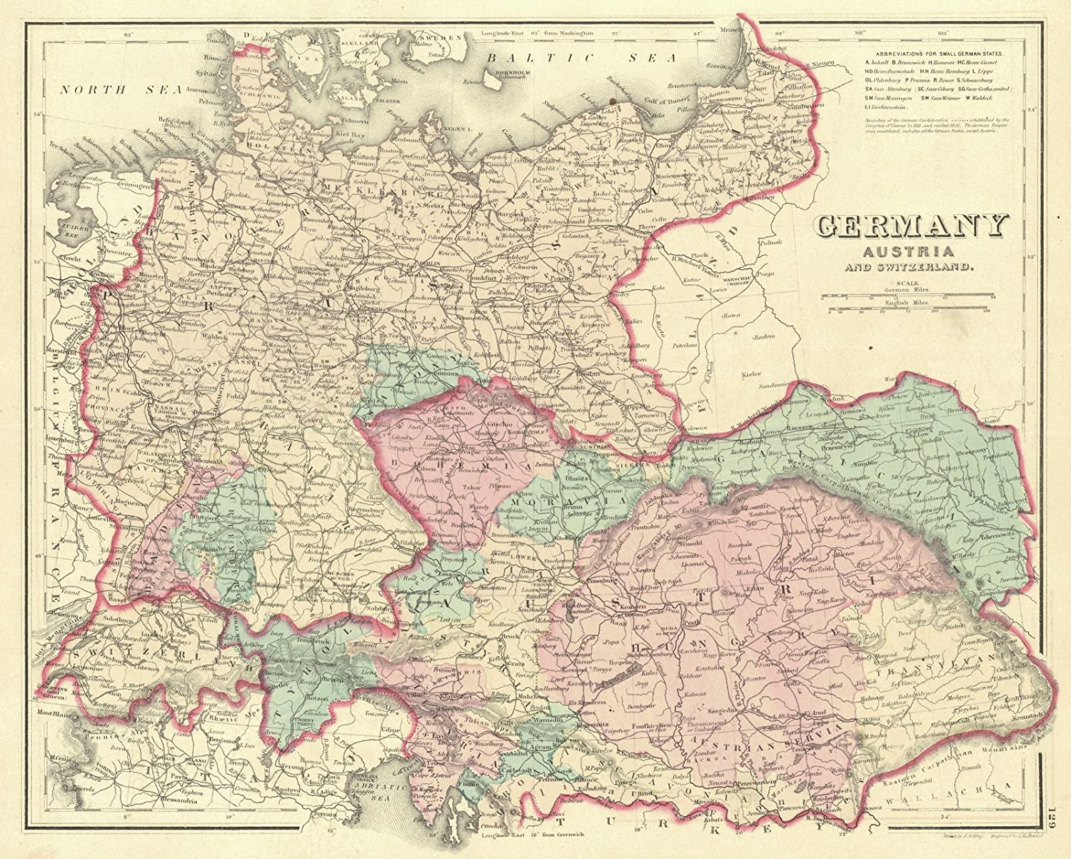 Amazon historic map 1876 germany austria and switzerland amazon historic map 1876 germany austria and switzerland posters prints gumiabroncs Gallery